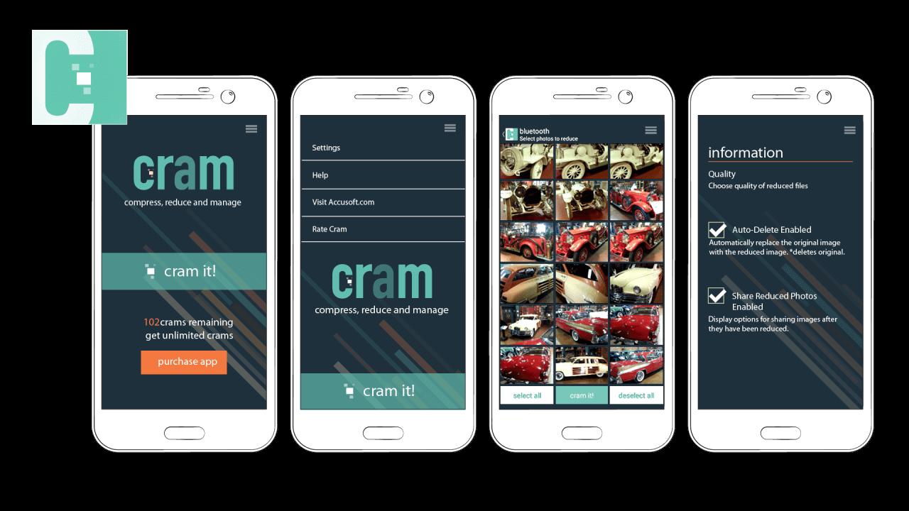 UI/UX Design Mockup – CRAM Image Compression Mobile App